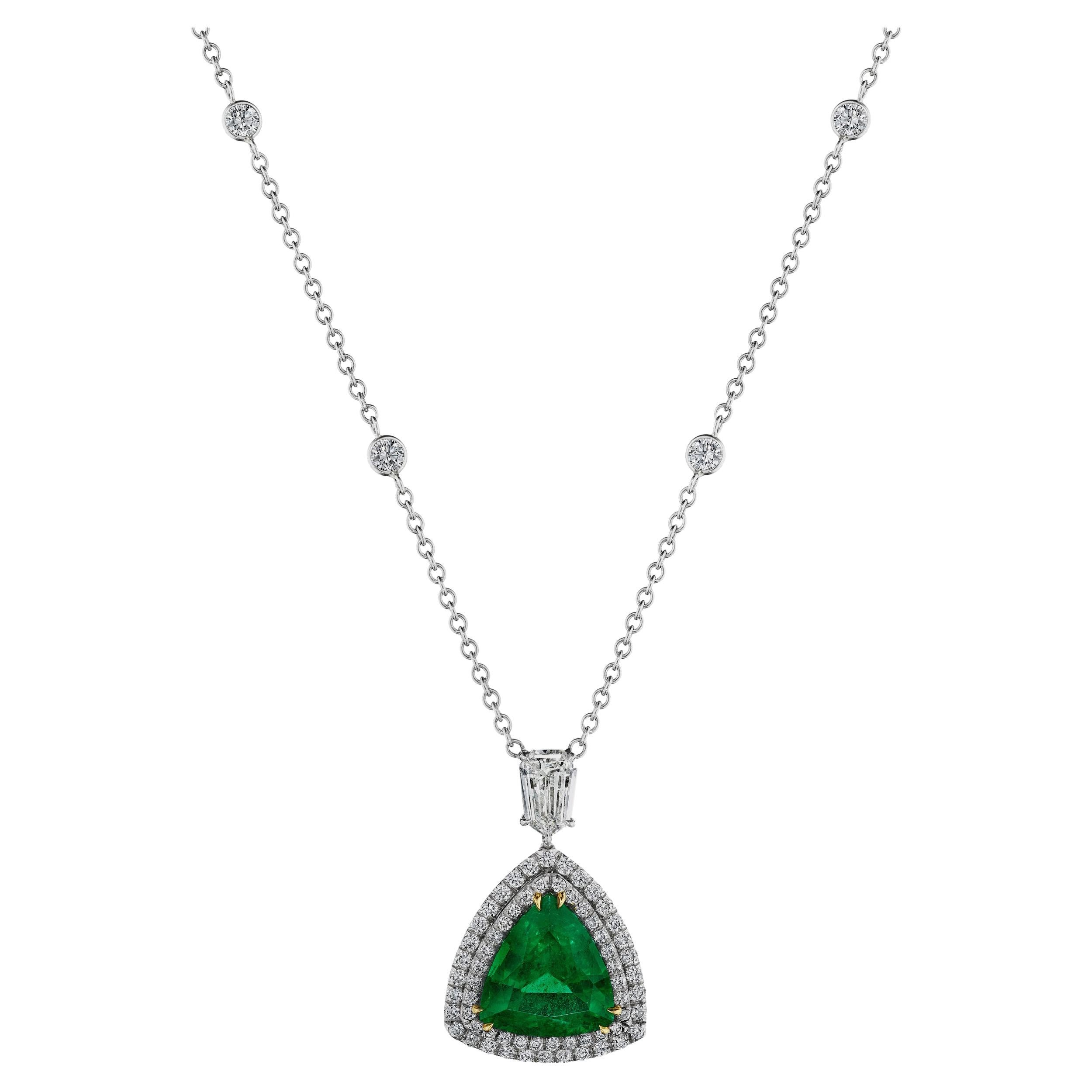 4.75 Carat Trillion Cut Emerald and Diamond Double Halo Pendant Necklace