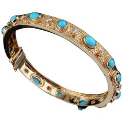 4.75 Carat Turquoise Diamond 18 Karat Gold Vintage Style Bangle Bracelet