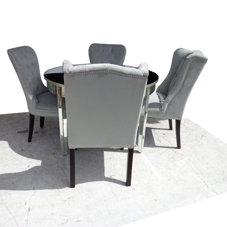 Mirrored Table and Archer Dining Chairs by Z Gallerie In Good Condition For Sale In Pasadena, TX
