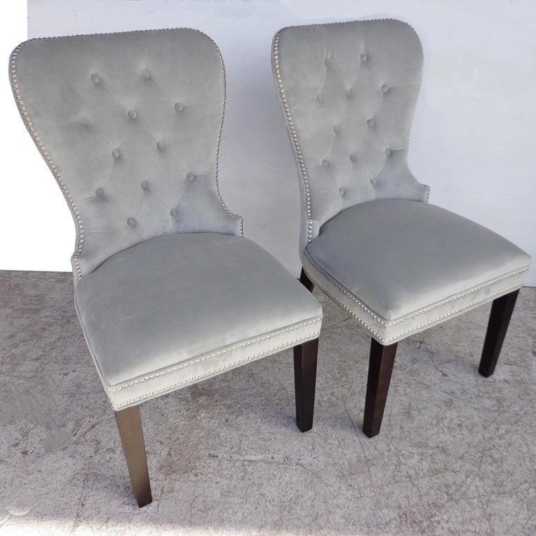 Contemporary Mirrored Table and Archer Dining Chairs by Z Gallerie For Sale