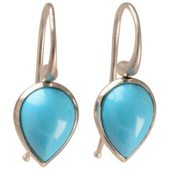 4.76 Carat Turquoise Pod Drop Earrings in 18 Karat White Gold