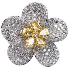 4.77 Carat Diamond Floral Cocktail Ring