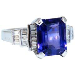 4.77 Carat Natural Emerald Cut Amethyst Diamonds Ring 14 Karat