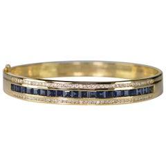 4.77 Carat Sapphire Diamond Gold Bangle Bracelet
