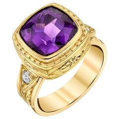 4.78 Carat Amethyst Square Cushion, Yellow Gold Bezel Engraved Signet Band Ring