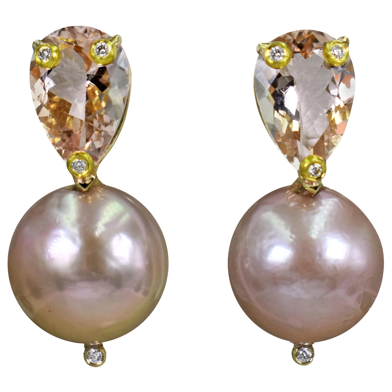 4.78 Carat Morganite, Diamond and Pink Pearl 14 Karat Gold Stud Earrings
