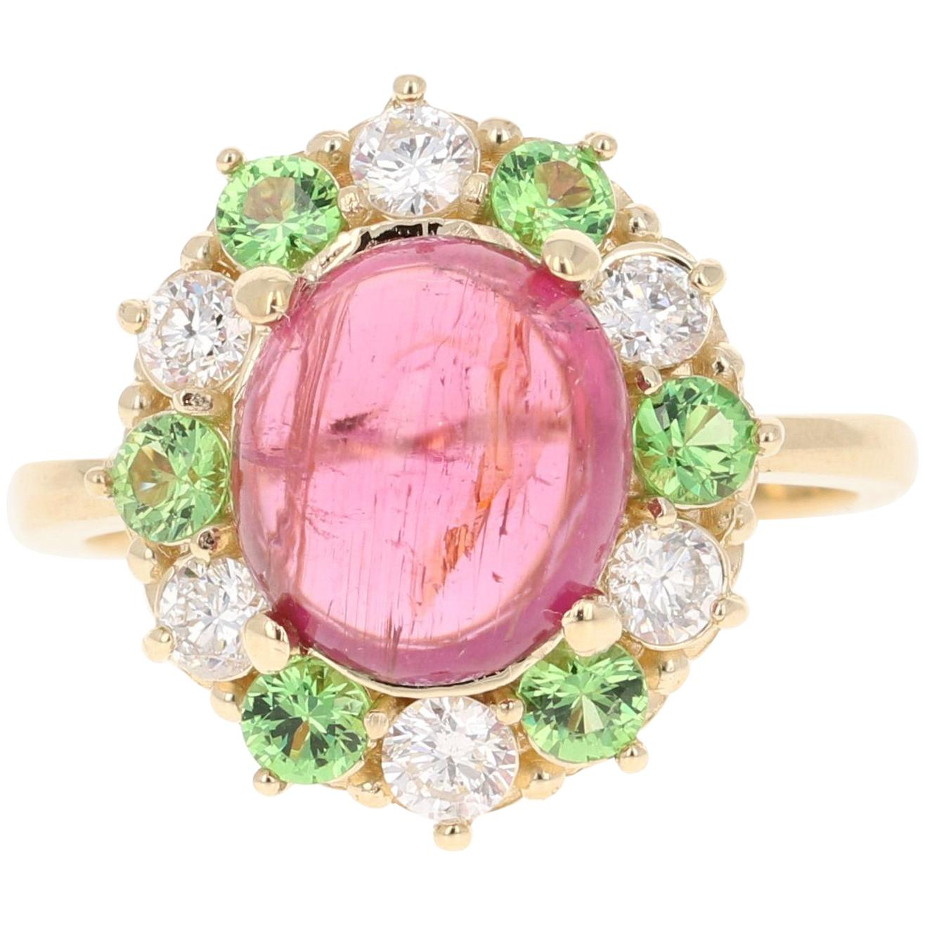 4.78 Carat Pink Tourmaline Tsavorite Diamond 14 Karat White Gold Ring