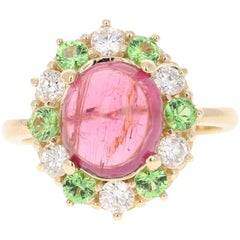 4.78 Carat Pink Tourmaline Tsavorite Diamond 14 Karat White Gold Ring