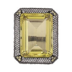 47.81 Carat Lemon Topaz and Diamond Cluster Cocktail Ring in Victorian Style