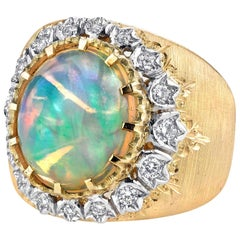 4.79 Carat Opal and Diamond 18k Yellow and White Gold Florentine Band Dome Ring