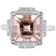 4.79 Carat Pink Morganite and Diamond Ring in 14 Karat White Gold