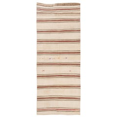 Banded Vintage Handmade Runner Kilim in Shades of Brown, Beige and Red