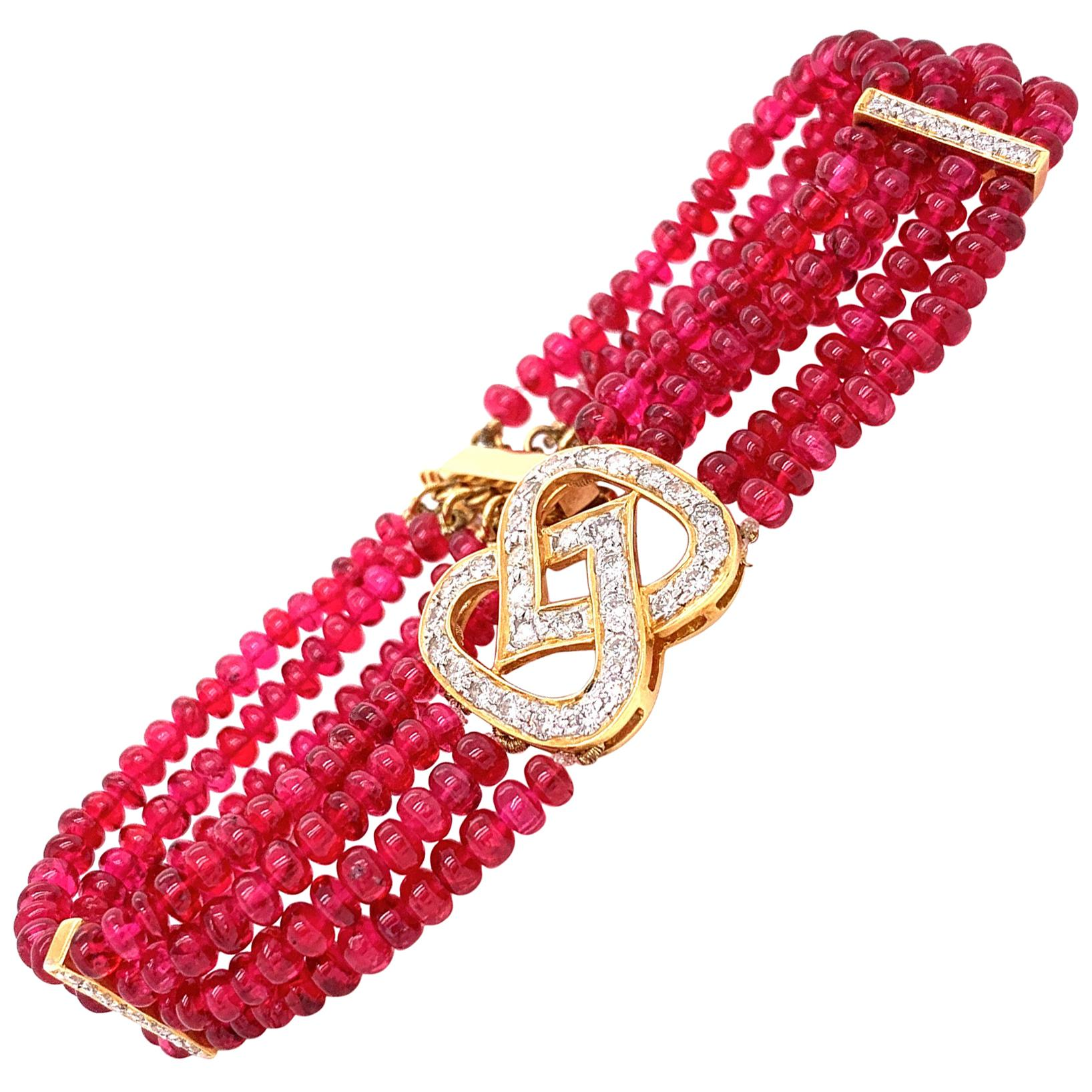 48 Carat Burmese Red Spinel Beads and White Diamond Gold Bracelet