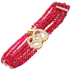48 Carat Burmese Red Spinel Beads and White Diamond Gold Bracelet