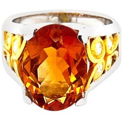 4.8 Carat Citrine and Diamond Gold Cocktail Ring