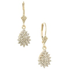 .48 Carat Diamond Yellow Gold Cluster Dangle Earrings