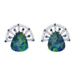 Opal Diamond 18 Karat Gold Fan Stud Earrings