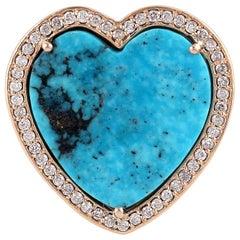 4.8 Carat Turquoise Diamond 14 Karat Gold Heart Gold Ring