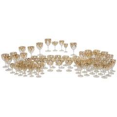 48 Pc Set Hand Blown Quatrefoil Crystal Stemware Service with Raised Paste Gold