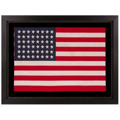 48 Star American Parade Flag with Dancing Rows of Canted Stars, ca 1912-1918