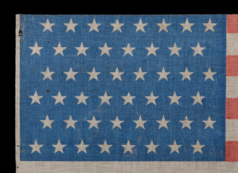 48 Star Antique American Parade Flag with Cornflower Blue Canton, ca 1896-1918 In Good Condition For Sale In York County, PA
