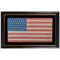 48 Star Antique American Parade Flag with Cornflower Blue Canton, ca 1896-1918