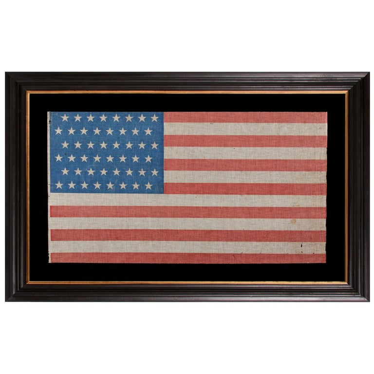 48 Star Antique American Parade Flag with Cornflower Blue Canton, ca 1896-1918 For Sale