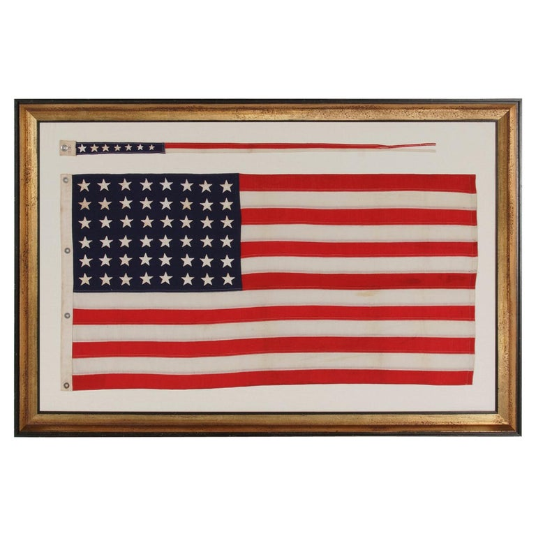 48 Star, U.S Navy Boat Ensign with 7 Star Pennant Handed Down Through the Family For Sale