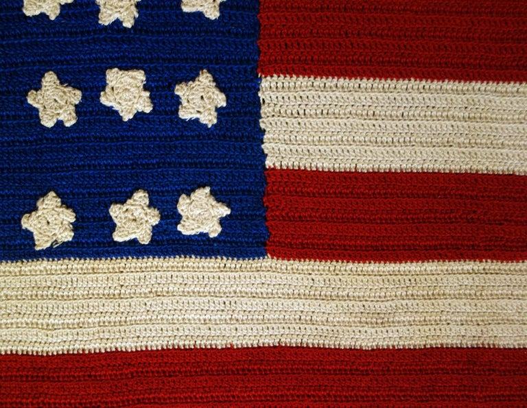 20th Century 48 Stars Crocheted American Flag, Made During WWI-WWII  For Sale