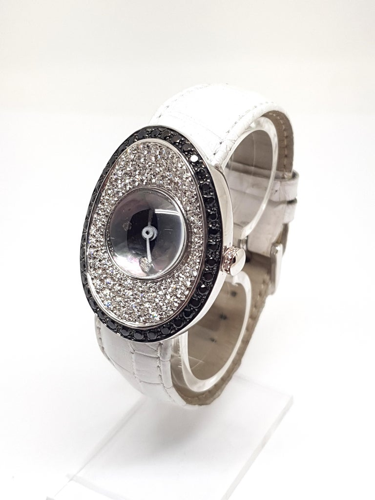 4.80 Carat 18 Karat White Gold Black Diamond Watch For Sale 4