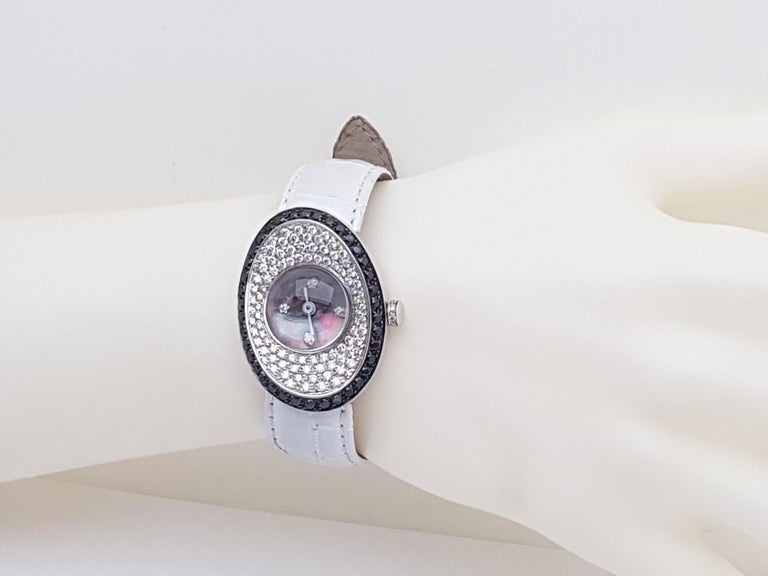 4.80 Carat 18 Karat White Gold Black Diamond Watch For Sale 10