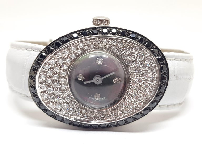 Artist 4.80 Carat 18 Karat White Gold Black Diamond Watch For Sale