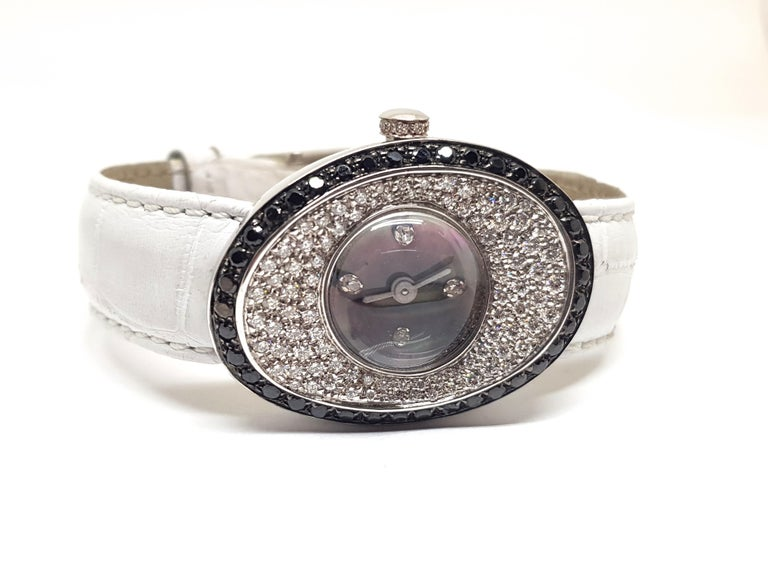Round Cut 4.80 Carat 18 Karat White Gold Black Diamond Watch For Sale