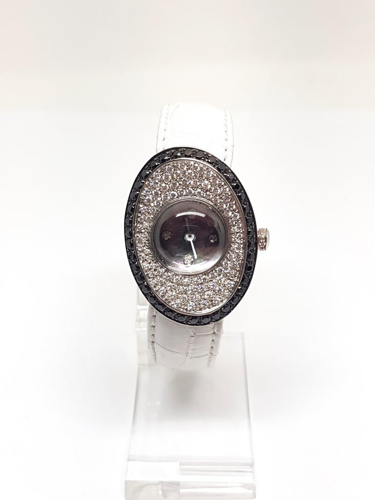 4.80 Carat 18 Karat White Gold Black Diamond Watch For Sale 1