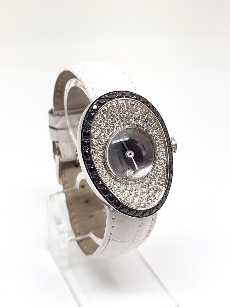 4.80 Carat 18 Karat White Gold Black Diamond Watch For Sale 3