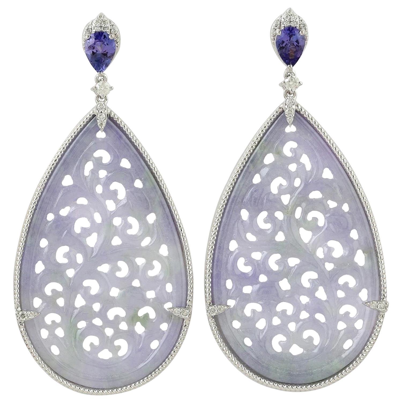 48.0 Carat Carved Jade Tanzanite 18 Karat Gold Diamond Earrings