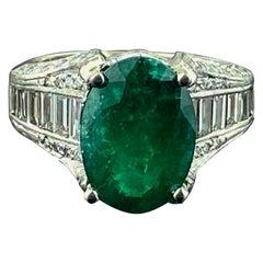 4.80 Carat Emerald and Diamond Ring in Platinum