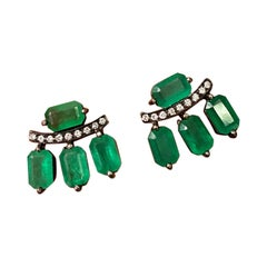 4.80 Carat Emerald and Diamond Stud Earrings