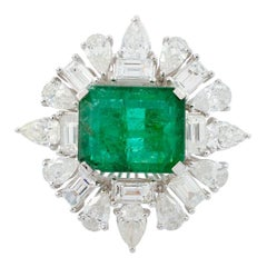 4.80 Carat Emerald Diamond 18 Karat White Gold Ring