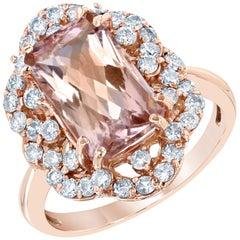 4.80 Carat Morganite Diamond Rose Gold Art Deco Style Ring
