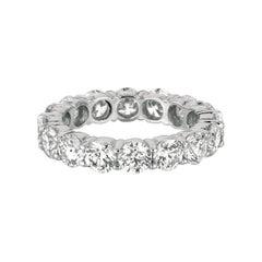 4.80 Carat Natural Diamond Eternity Band Ring G SI 18 Karat White Gold 16 Stones