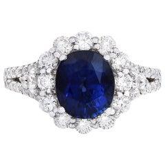 4.80 Carat Natural Sapphire 18 Karat Solid White Gold Diamond Ring