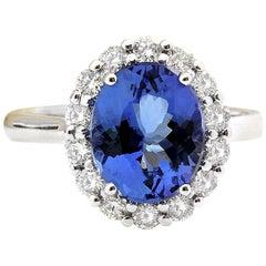 4.80 Carat Natural Tanzanite 18 Karat Solid White Gold Diamond Ring
