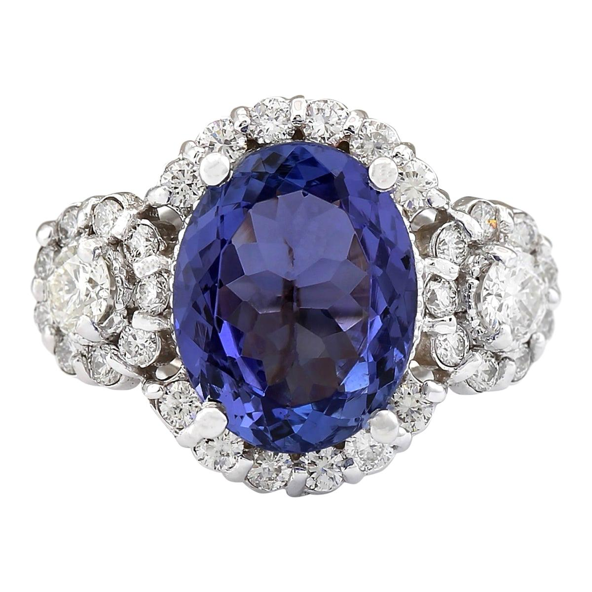 4.80 Carat Natural Tanzanite 18 Karat White Gold Diamond Ring