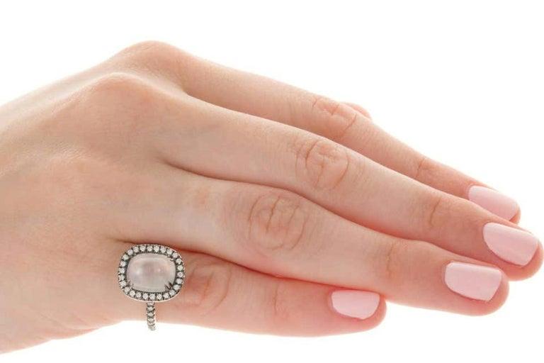 4.80 Carat Rainbow Moonstone & Diamond 18 Karat White Gold Ring For Sale 7