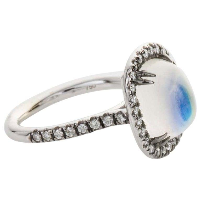 Oval Cut 4.80 Carat Rainbow Moonstone & Diamond 18 Karat White Gold Ring For Sale