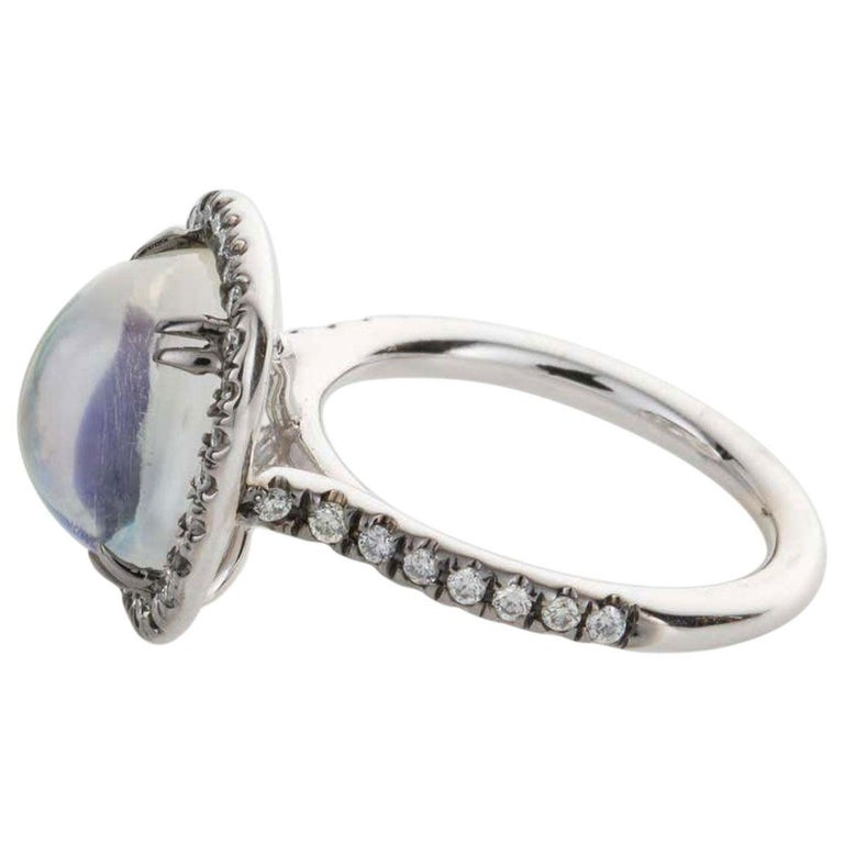 4.80 Carat Rainbow Moonstone & Diamond 18 Karat White Gold Ring In Excellent Condition For Sale In QLD , AU