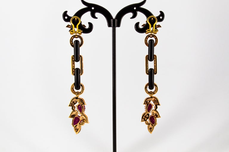 4.80 Carat Ruby 1.76 Carat White Diamond Onyx Yellow Gold Clip-On Drop Earrings For Sale 5