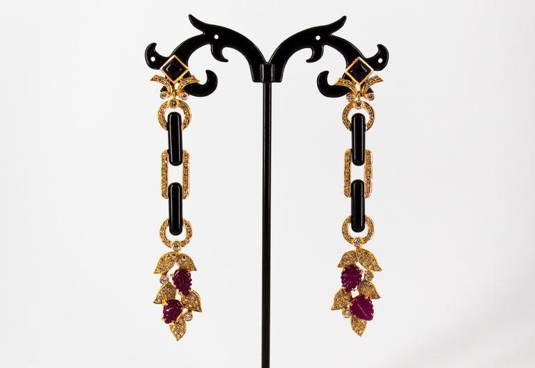 Women's or Men's 4.80 Carat Ruby 1.76 Carat White Diamond Onyx Yellow Gold Clip-On Drop Earrings For Sale
