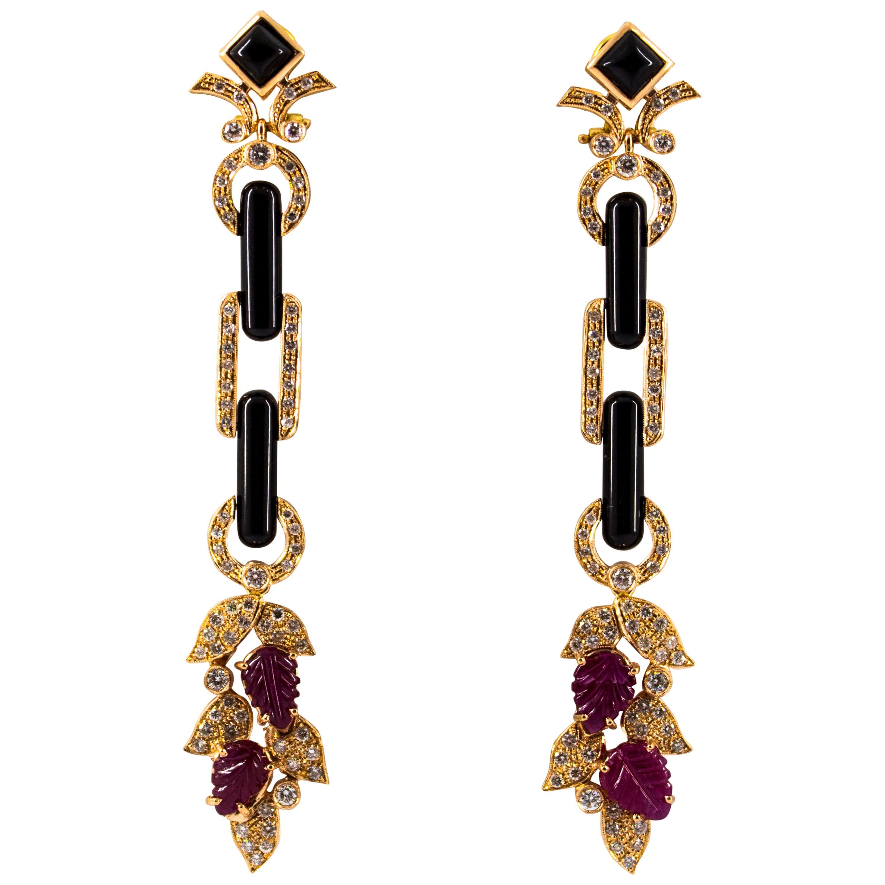 4.80 Carat Ruby 1.76 Carat White Diamond Onyx Yellow Gold Clip-On Drop Earrings